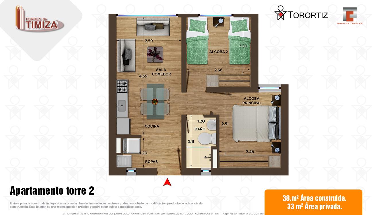 Torres-de-timiza-apartamentos-kennedy-nuevos-vivienda-de-interes-social-subsidio-vis-venta-vivienda-bogota-2-habitaciones-torortiz-casas-lotes-Apartamento torre 2