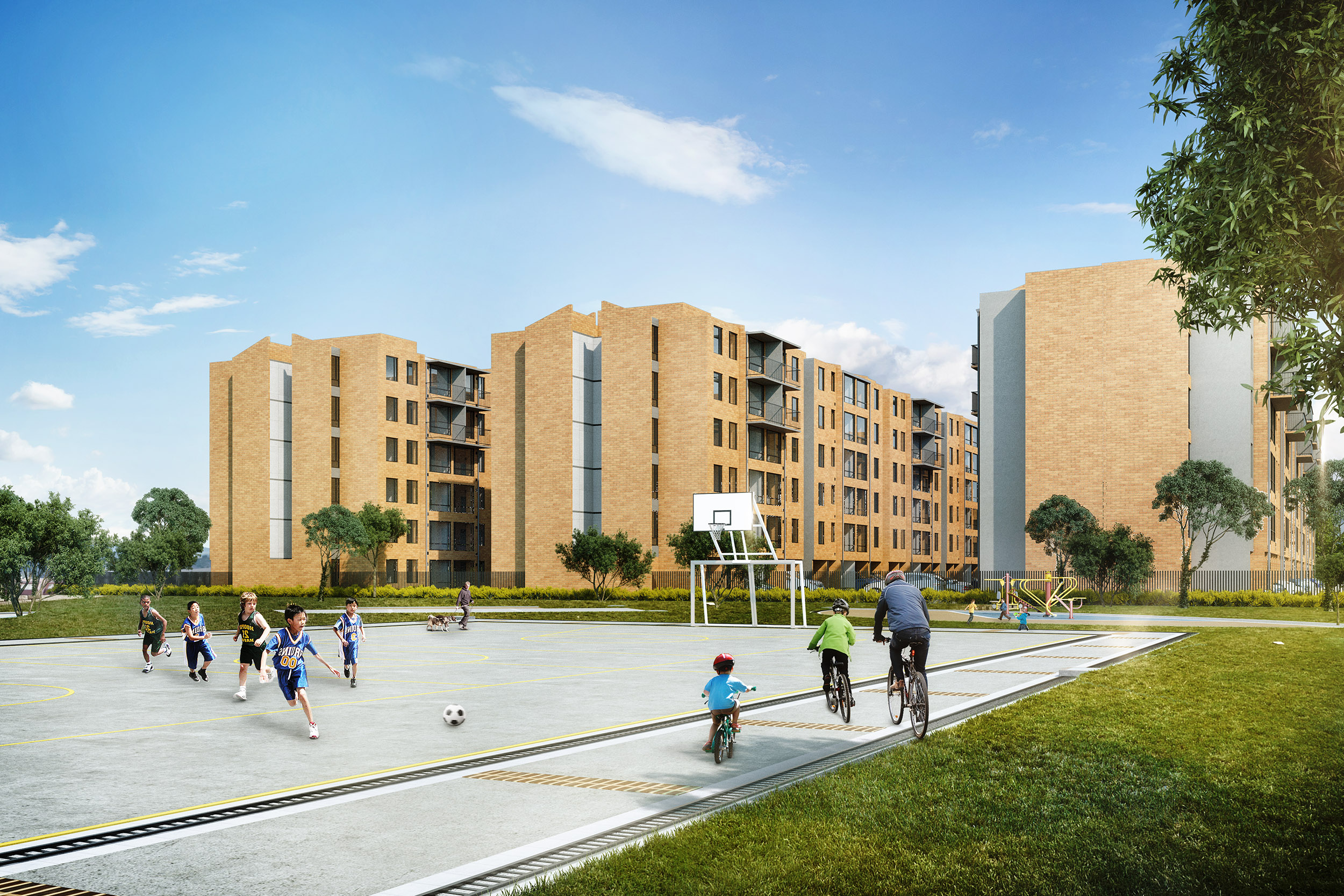 Toledo-apartamentos-Via-Indumil-Soacha-hogar-nuevos-vivienda-de-interes-social-vis-venta-vivienda-bogota-habitaciones-baños-cundinamarca-torortiz-casas-lotes-hogar-render-fachada-exterior-parque