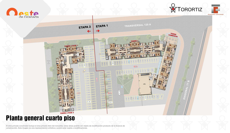 Oeste-de-granada-apartamentos-calle-80-portal-venta-vivienda-nueva-bogota-3-habitaciones-dos-baños-torortiz-casas-lotes-Planta general cuarto piso