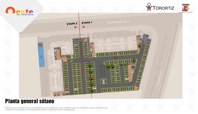 Oeste-de-granada-apartamentos-calle-80-portal-venta-vivienda-nueva-bogota-3-habitaciones-dos-baños-torortiz-casas-lotes-Planta general sótano