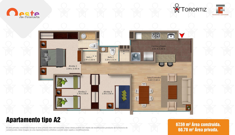 Oeste-de-granada-apartamentos-calle-80-portal-venta-vivienda-nueva-bogota-3-habitaciones-dos-baños-torortiz-casas-lotes-Apartamento tipo A1