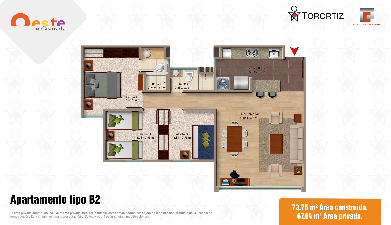 Oeste-de-granada-apartamentos-calle-80-portal-venta-vivienda-nueva-bogota-3-habitaciones-dos-baños-torortiz-casas-lotes-Apartamento tipo B2