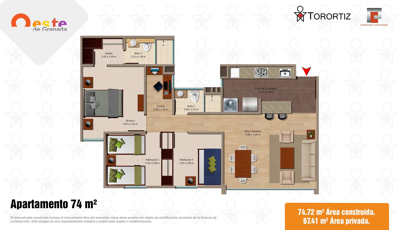 Oeste-de-granada-apartamentos-calle-80-portal-venta-vivienda-nueva-bogota-3-habitaciones-dos-baños-torortiz-casas-lotes-Apartamento 74m2