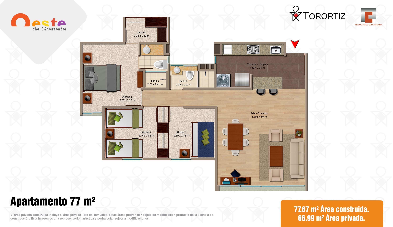 Oeste-de-granada-apartamentos-calle-80-portal-venta-vivienda-nueva-bogota-3-habitaciones-dos-baños-torortiz-casas-lotes-Apartamento 77m2