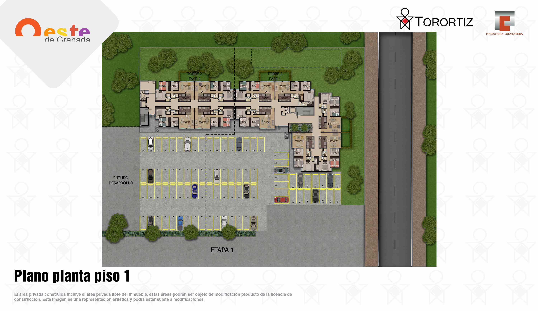 Oeste-de-granada-apartamentos-calle-80-portal-venta-vivienda-nueva-bogota-3-habitaciones-dos-baños-torortiz-casas-lotes-Plano Planta piso 1